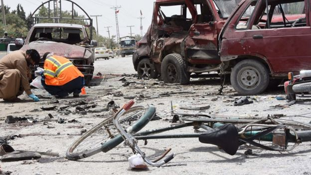 Suspected suicide bomb blast outside a polling station in Quetta