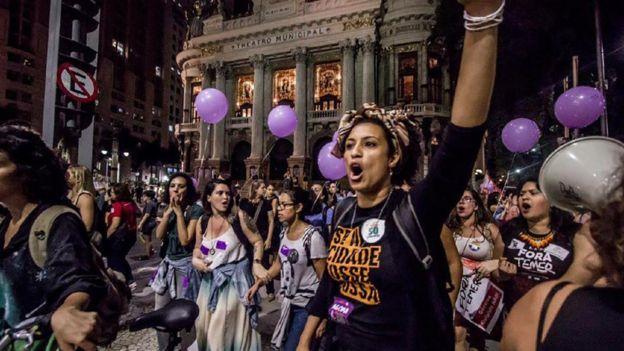 Protesta con Marielle Franco.