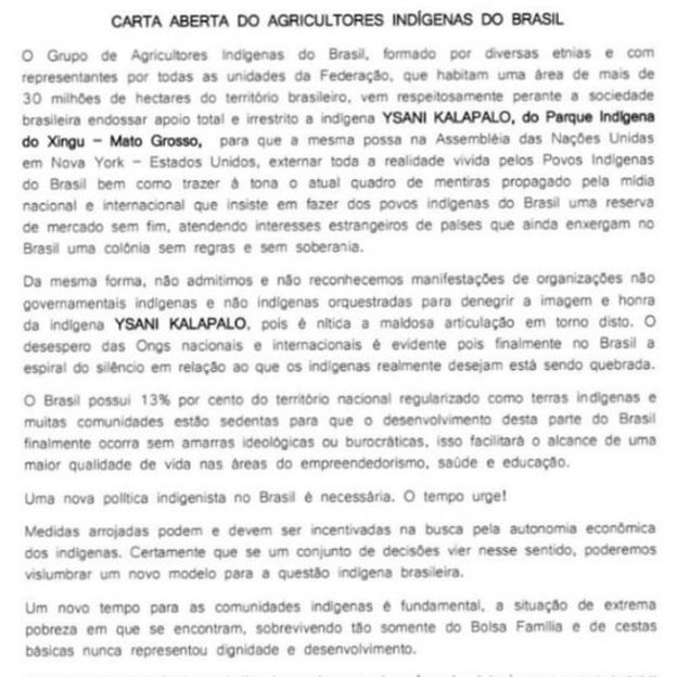 Carta de associação em defesa de Ysani