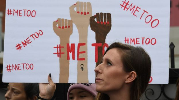 Victims of sexual harassment, sexual assault, sexual abuse and their supporters protest during a #MeToo march in Hollywood, California on November 12, 2017. Several hundred women gathered in front of the Dolby Theatre in Hollywood before marching to the CNN building to hold a rally.