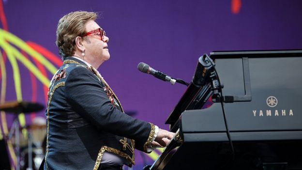 Elton John performs at Mount Smart Stadium in Auckland, New Zealand