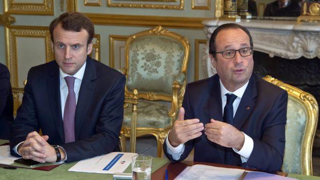 Emmanuel Macron and then-president Hollande, 8 Dec 14