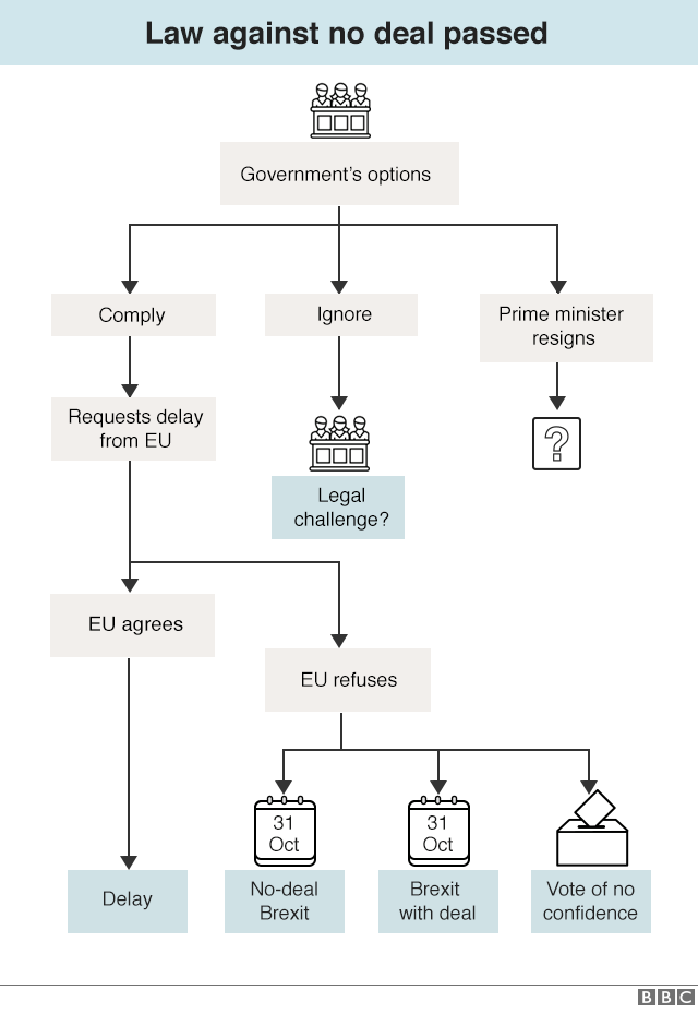 Chart showing options after no-deal Brexit law