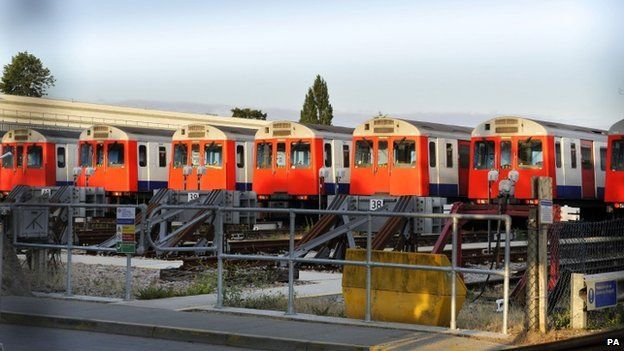 District Line tube trains parked at the Upminster depot,