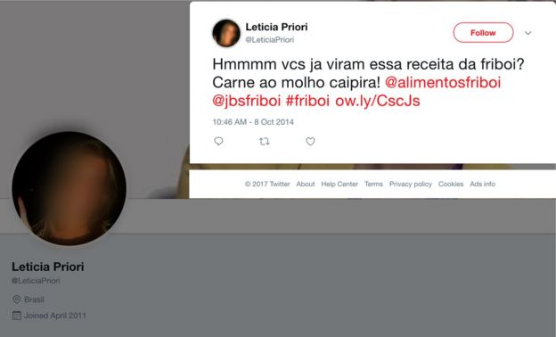 Captura de tela de perfil identificado como falso no Twitter