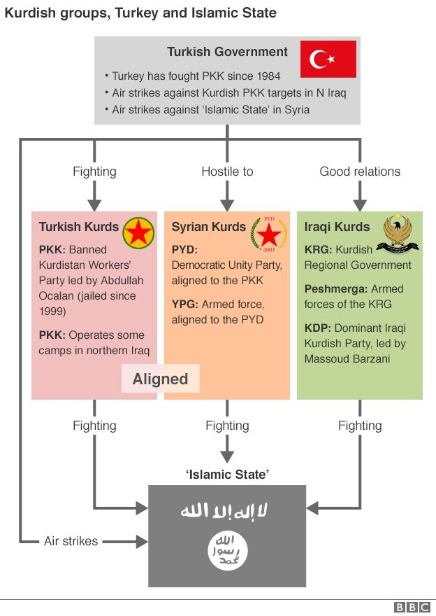 Graphic: Kurdish groups, Turkey and the Islamic State
