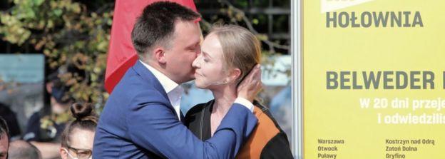Urszula Brzezinska-Holownia with husband Szymon Holownia