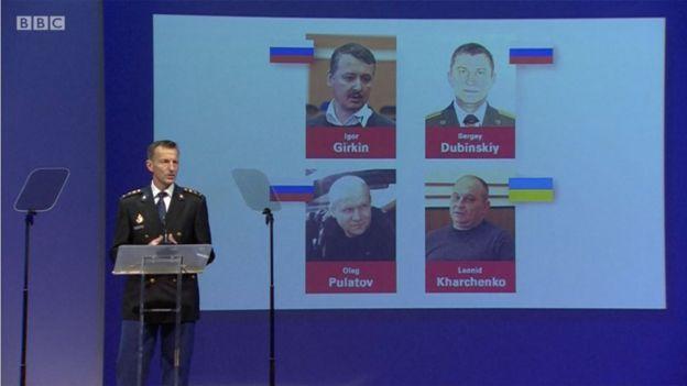 Los cuatro hombres acusados de derribar el vuelo MH17: los rusos Igor Girkin, Sergey Dubinsky y Oleg Pulatov, y el ucraniano Leonid Kharchenko.