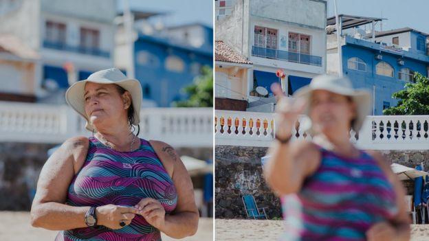 Duas fotos mostram Peixinho dando aula na praia