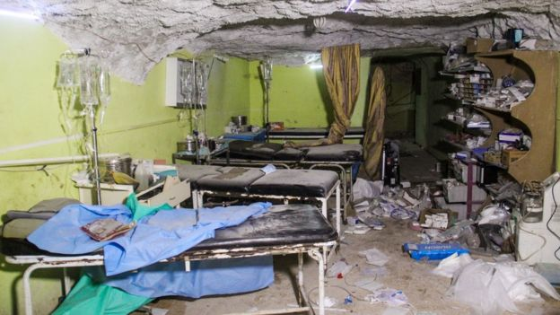 Destruction at a hospital room in Khan Sheikhoun. April 4, 2017