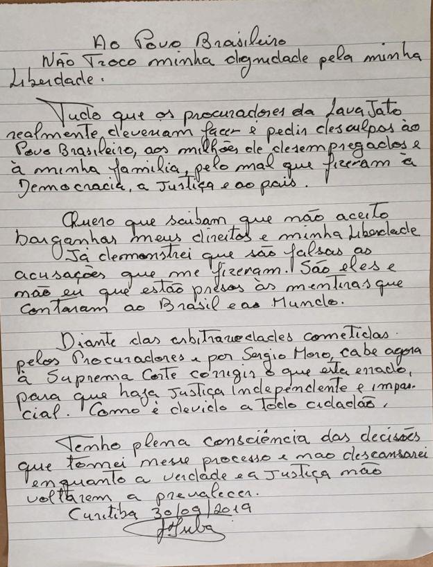 Carta do ex-presidente Lula reafirma que não aceitará sair da prisão sem que seu processo seja considerado nulo