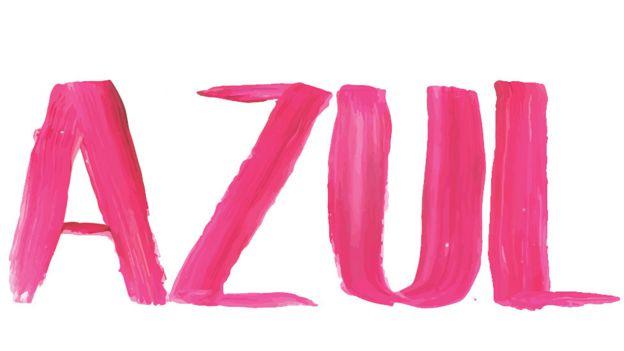 Palabra Azul escrita en rosa