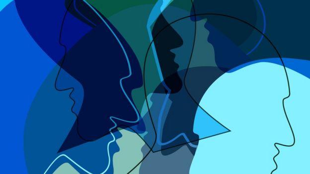 Ilustração mostra diversos sombreados de cabeças entrelaçadas