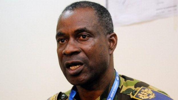 General Gilbert Diendere speaks during a press conference in Ouagadougou, on July 25, 2014