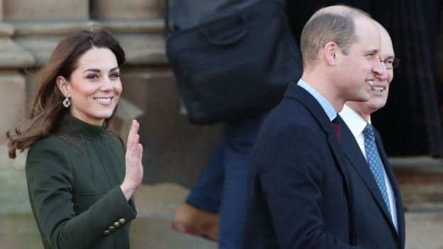 The Duke and Duchess of Cambridge arrive for a visit to City Hall in Bradford