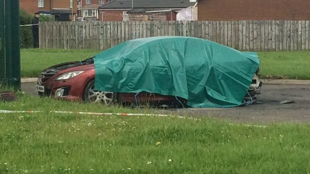 A man's body was found inside this car in the Galliagh area of Derry