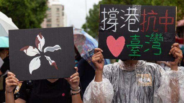 """参与声援香港""""反送中""""抗议的台湾群众(29/9/2018)"""