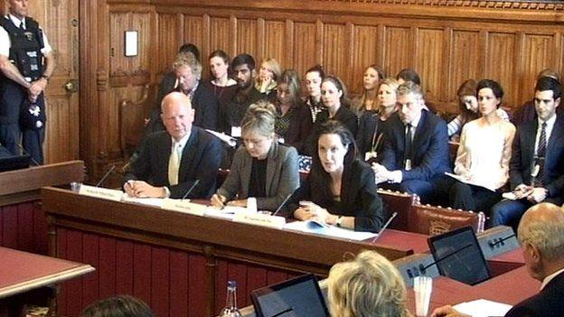 Angelina Jolie, William Hague before committee