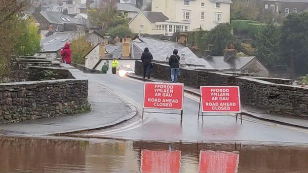 Flooding in Crickhowell, Powys