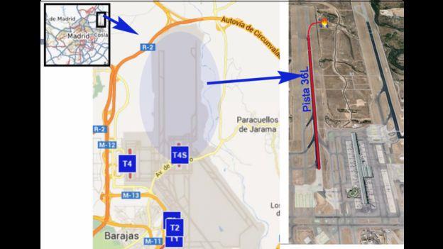 Mapa del lugar de la tragedia del vuelo Spanair JK5022 en 2008.