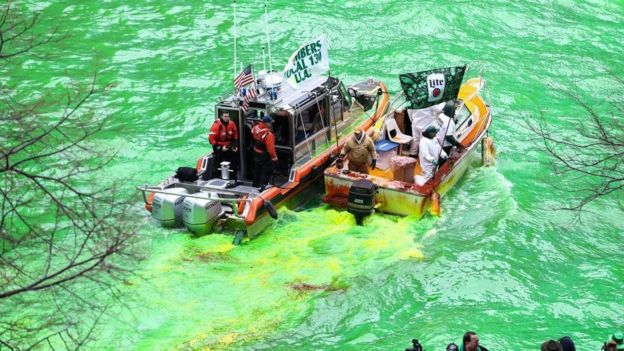Chicago River is being turned to green for annual St. Patrick's Day celebrations 2018 in Chicago, United States