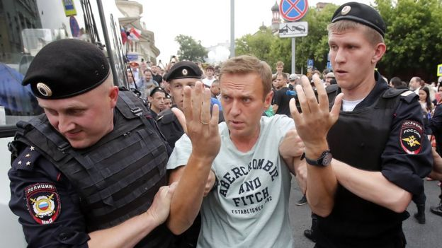Russian opposition leader Alexei Navalny is arrested during a rally in support of investigative journalist Ivan Golunov, who was detained by police, accused of drug offences and later freed from house arrest, in Moscow, Russia, 12 June 2019