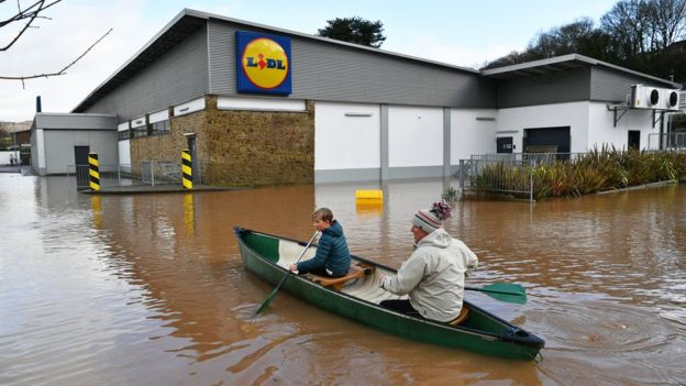 Lidl, Monmouth, in the aftermath of Storm Dennis.