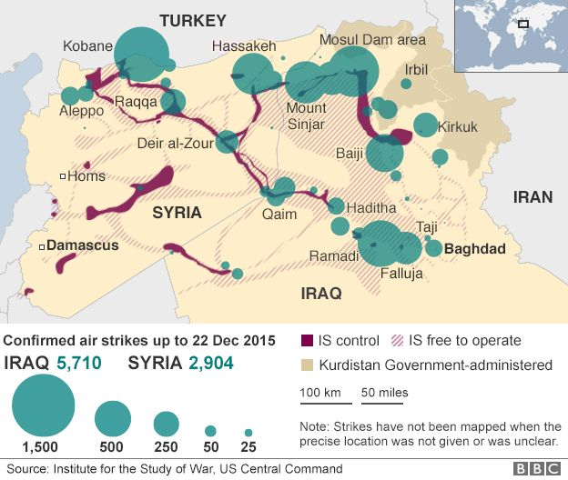 Map showing air strikes in Iraq and Syria