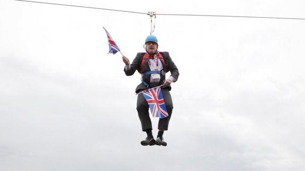 Boris Johnson got stuck on a zip-line on August 01, 2012