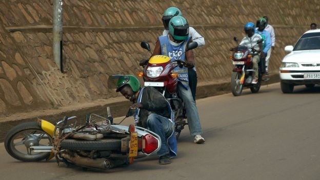 A motorcycle taxi crash in Kigal, Rwanda