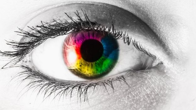 An eye with colors around.