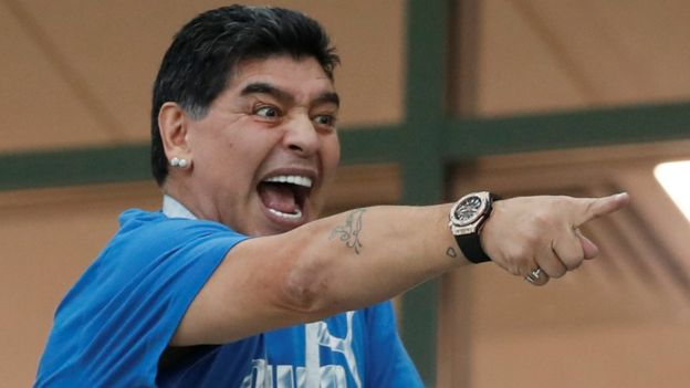 Maradona pointing a finger in the crowd at Russia 2018