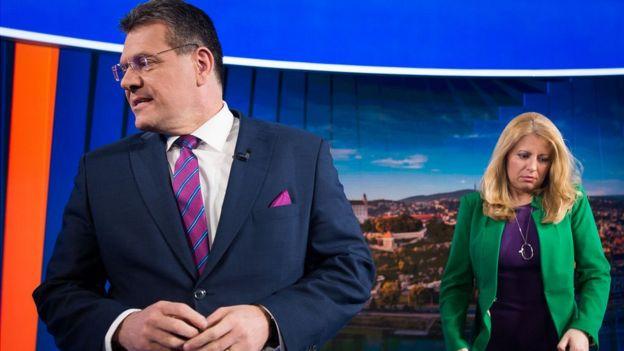 кандидаты в президенты Словакии Марош Шевчович, Зузана Чапутова