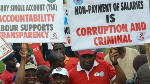 Workers under di platform of Nigeria Labour Congress march to support di fight against corruption for 2015