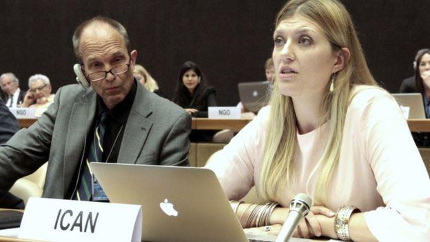 Ican 執行總監菲恩2015年在聯合國一個工作小組呼籲禁核