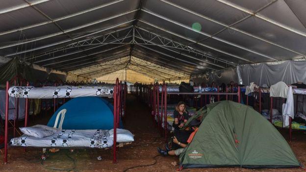 Zona de camas de los periodistas en la Conferencia de las FARC.