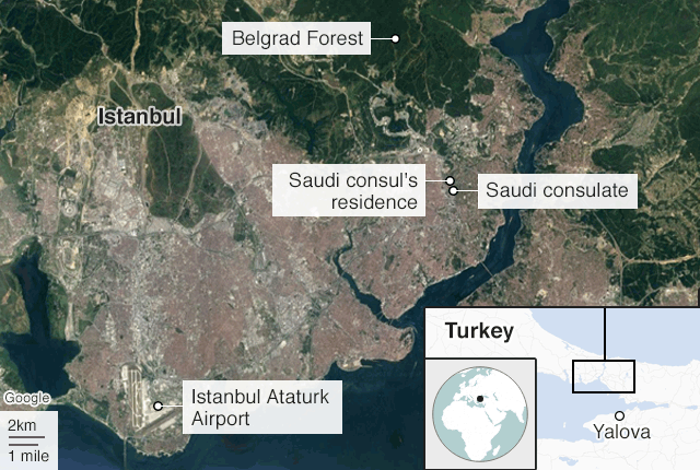 A map shows the locations in Istanbul that are being searched by Turkish investigators