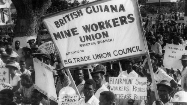Protesta en Guyana en 1945