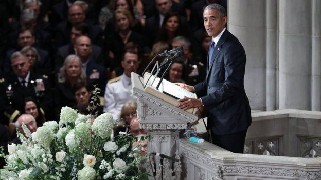 Барак Обама выступил с речью на проводах своего бывшего соперника на президентских выборах
