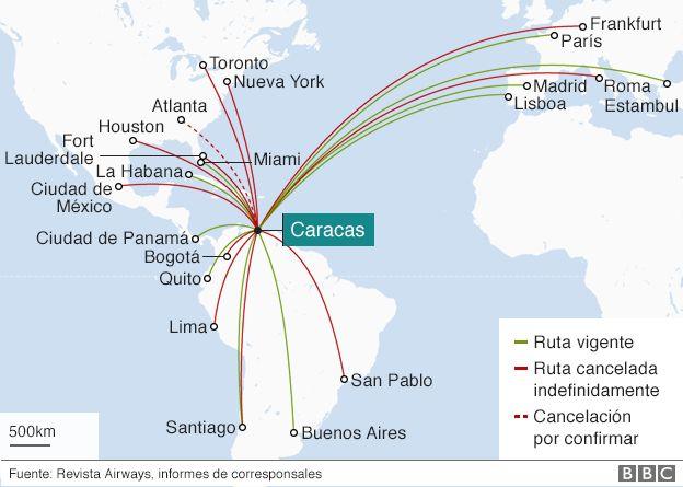 Mapa con vuelos hacia Caracas, Venezuela
