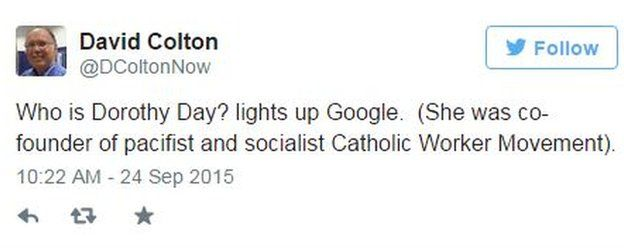 Tweet by @DColtonNow on 24 September 2015