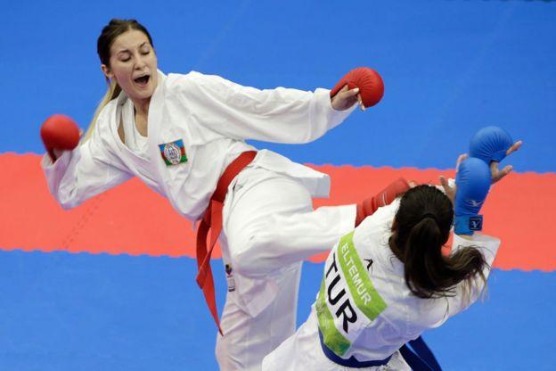 Competencia de karate en Bakú, Azerbaiyán.