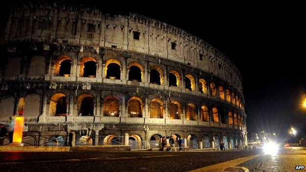 The Colosseum in Rome seen at night in 2013