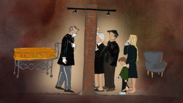 Illustration showing a wall separating a grieving family from a deceased person