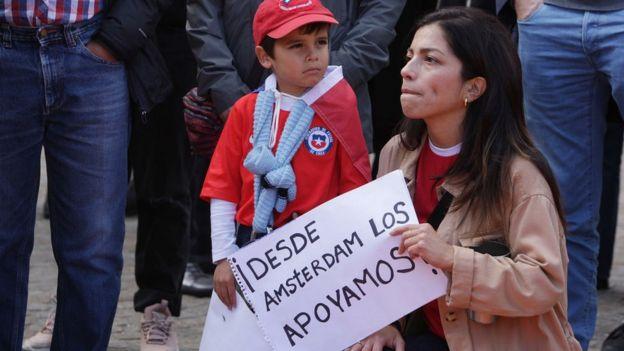 Manifestación de apoyo a Chile en Ámsterdam, Holanda