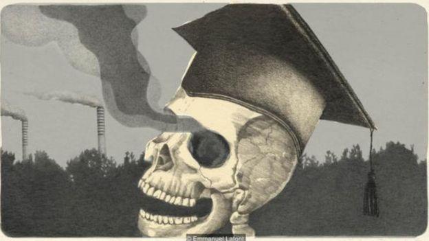 Ilustração caveira com olhos soltando fumaça