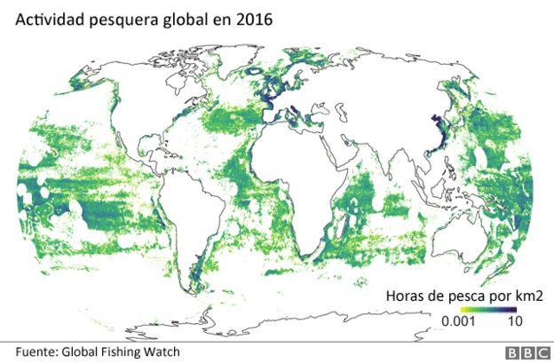 Mapa de calor de la pesca en 2016