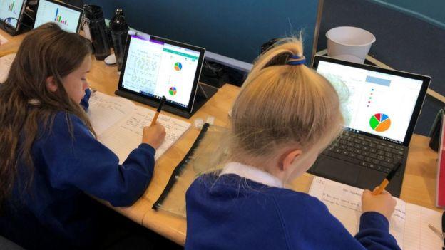 Kids on laptops