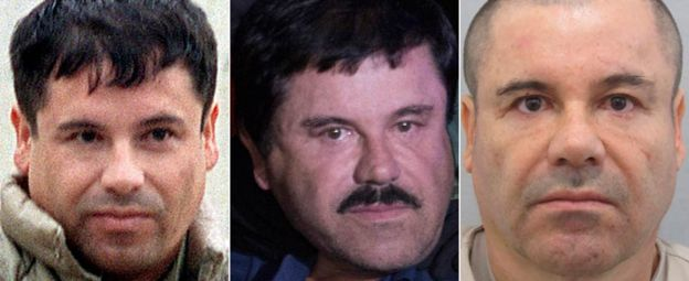 Three different images of El Chapo