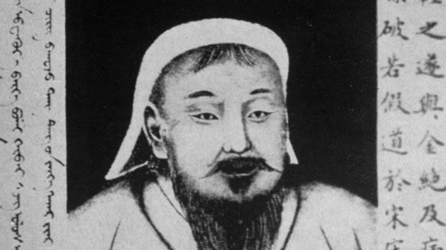 Circa 1200, Mongol conqueror Genghis Khan (1162 - 1227), the son of a Mongol chief.